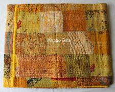 "Handmade Silk Kantha Vintage Sari Throw Patchwork Quilt Indian 90*108"" Yellow"