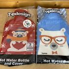 Hot Water Bottle & Cover Large Lot of 2  Rubber Novelty with Cute Cover