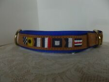 XL Dog  Collar Nautical Flags Suede and Nylon