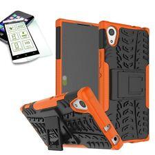 Hybrid case 2 piezas naranja para Sony Xperia xa1 funda + 0,3 h9 templado bolso