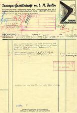 Alte Rechnung 1935 Texrope Keilriemen Antrieb Berlin Kassel Firma Wintershall AG