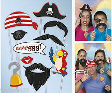 10 Pirate Photo Booth Party Props Birthday Wedding Party Disguises Hand Held Fun