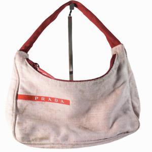 Vintage 90s Prada Tessuto Mini Hobo Hand Bag Canvas Brown Red Purse Women's