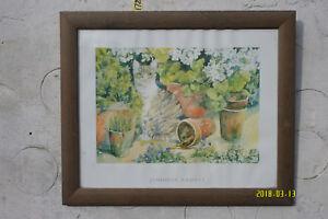 Print of a Picture by Jenifer Abbott. Cat among Plant Pots.