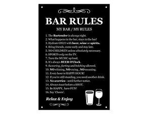 Asta Rules Insegna - Impermeabile, Nero e Bianco, Regalo Novità, Man Cave
