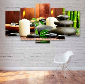 Spa Stones And Candles 5 Panel Canvas, Wall Art, Picture, Painting, Print #091