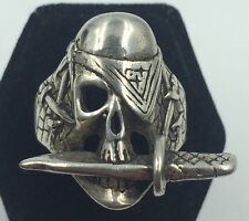 Vintage 1984 Sterling Silver 925 Pirate Skull with Knife Men's Ring Size 9.75