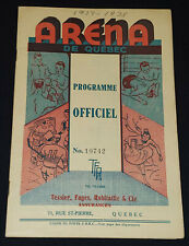 1938 - QUEBEC ACES HOCKEY PROGRAM - QUEBEC ARENA - vs MONTREAL CONCORDIA - QSHL