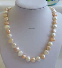 Christmas offer: Genuine 9-11mm baroque freshwater pearl necklace white+Pink