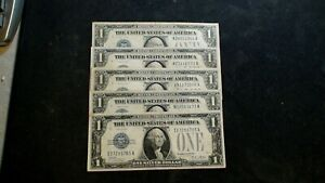 FIVE 1928 ONE DOLLAR SILVER CERTIFICATE $1 Notes FR #1601 Bills BUY IT NOW!