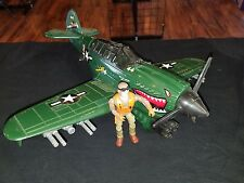 "Vintage 1994 GI Joe Sgt Savage Warhawk 15"" Airplane With Sgt Savage Figure WORKS"