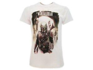STAR WARS Mandalorian T-Shirt Maglietta Bianca Con Boba Fett Originale UFFICIALE