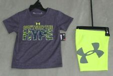 """NEW~UNDER ARMOUR BRIGHT YELLOW/GRAY  """"HYPE"""" 2-PIECE SHORT SET SIZE 18 MONTHS"""