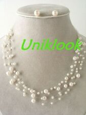 White Pearl Illusion Layer Necklace Set Bridesmaid Prom Bridal Jewelry Gift IDEA