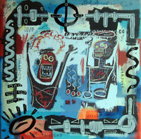 palm spring basquiat TABLEAU pop street art french painting canvas signed PyB