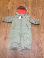 New Baby Gap Snow Suit Coat 6-12 Months Boy Outerwear Green Ski Winter Jacket