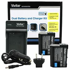 2 EN-EL15 Battery + Charger for Nikon D7200 D7100 D7000 D810 D800 D750 D610 D600