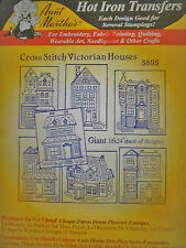 "Aunt Martha's Hot Iron On Transfer # 3895 ""Cross Stitch Victorian Houses"""