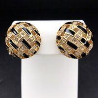 Swarovski Gold Tone Clip On Earrings Black Basketweave Crystal Dome Swan Signed