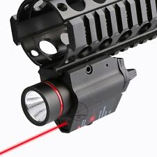 Tactical Pistol Flashlight Torch With Red Laser Sight Weaver Rail Pistol Glock