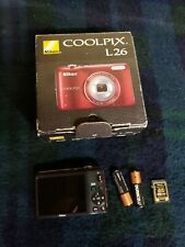 Nikon Coolpix L26 16.1 MP Red Digital Camera Tested & Works with 4gb sd card