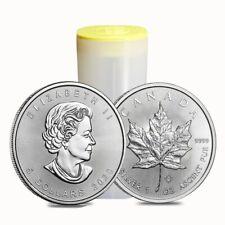 Roll of 25 - 2020 1 oz Canadian Silver Maple Leaf .9999 Fine $5 Coin BU (Lot,