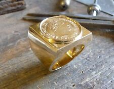Seal ring gold square with piece Gold 10 Francs Napoleon