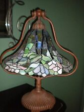 """Perfect Unique Tiffany Style 22"""" Tall Stained Glass Lamp Lotus Bell Rare Vintage"""