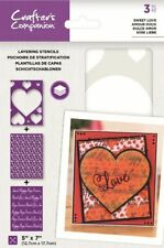 "Crafter's Companion ~ Layering Stencils ~ 3 piece ~ 5x7""  ~ Sweet love"