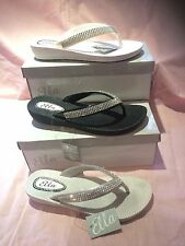S1 LADIES WOMANS  ELLA TOE POST SANDALS LOW WEDGE DIAMANTE FLIP FLOPS SUMMER SUN