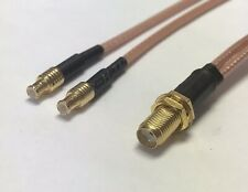 12 Inch SMA Female To 2X Split MCX Male RG316 Coax Cable Splitter Fast USA