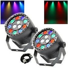 2x Equinox MicroPar RGBW LED DJ Disco Parcan Lighting Effect with DMX Cable