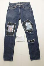 Levis 501 (Cod. F722)Tg46 W32 L36 accorciato a L34 jeans gebraucht custom