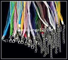 20Pcs Mixed color ribbon cord chain Lobster Clasp necklace Jewelry Finding 18""