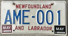 🌟⚜🌎 AUTHENTIC CANADA 1989-90 NEWFOUNDLAND LICENSE PLATE. HARD TO GET. AME-001