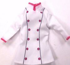 Barbie Doll Clothes Unbranded Chef Jacket White With Pink Trim