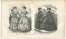 ANTIQUE VICTORIAN WOMAN WOMEN GIRL DRESS COSTUME WINTER JANUARY COATS ART PRINT