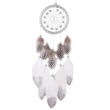 XD#3 Silver Bead Dream Catcher with Feather Wall Hanging Decoration