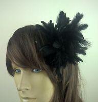 black feather flower fascinator millinery hair clip wedding piece ascot race