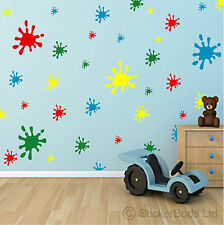 44 PAINT SPLAT wall bedroom nursery stickers ANY COLOUR