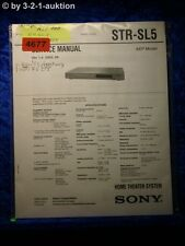 Sony Service Manual STR SL5 Home Theater System (#4677)