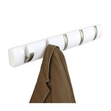 Umbra Flip Coat Wood Rack 5 Hooks Wall Mounted Scarf Jacket Entry Holder White