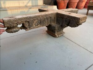 17th C Antique Wood Hand Carved Floral Temple Old House Ceiling Bracket Panel