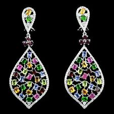 Top Natural Round Oval Cut Mix Gemstone & White Cz 925 Solid Silver Earring V4
