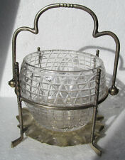 VINTAGE GLASS GUTTY BALL PRESERVE JAR W/PLATED STAND WITH 4 VERTICAL GOLF CLUBS