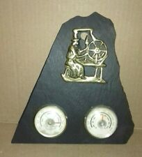 """VINTAGE """"HYGROMETER/THERMOMETER"""" MOUNTED WELSH SLATE AND BRASS   (ST7)"""