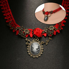 Lace Victorian Vintage Crystal Pendant Necklace Collar Choker Gothic Chain Women