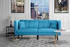 Mid Century Plush Tufted Fabric Living Room Sleeper Futon, Sky Blue