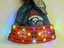 DENVER BRONCOS NFL Color LED Light up Winter Cuffed Pom Beanie HAT Cap tailgate