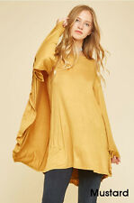 Womens Long Cape Sleeve Dress Flare Mini A-Line Loose Tunic Top Mustard Yellow M